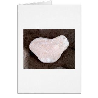 White heart shaped rock card