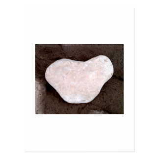 White heart shaped rock postcard