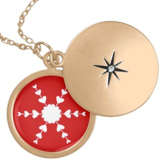 White Heart Snowflake Red Valentine Necklace