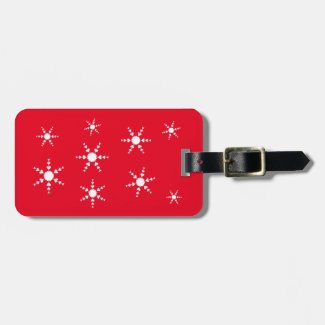 White Heart Snowflakes Red Luggage Tags