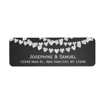 Valentines Themed White Heart Strings Chalkboard Wedding Address Label