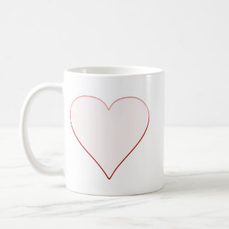 White Heart Surrounded by Thin Red Line Coffee Mug