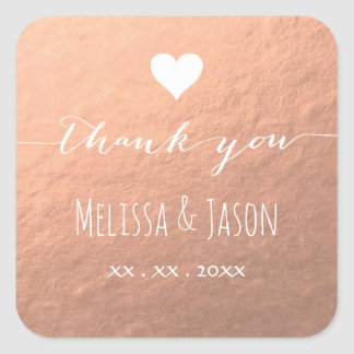white heart thank you wedding on rose gold square sticker