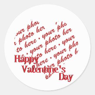 White Heart Valentine's Day Photo Frame Classic Round Sticker
