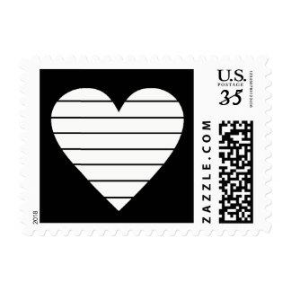 white heart with black stripes, modern postage