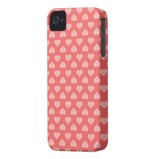 White Hearts Coral Pattern Case-Mate iPhone 4 Cases