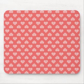 White Hearts Coral Pattern Mouse Pad