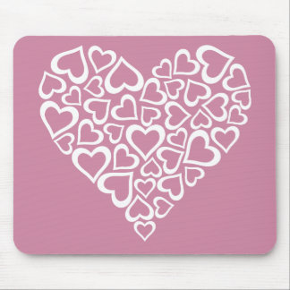 White Hearts Heart Mouse Pad