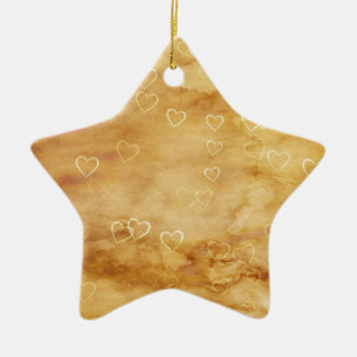 White Hearts of Tea Stained Parchment Ceramic Ornament