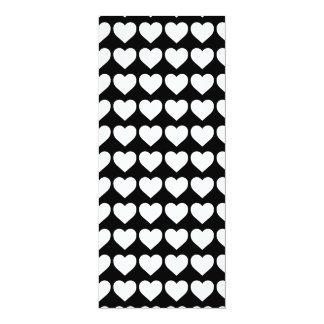 White Hearts on Black 4x9.25 Paper Invitation Card