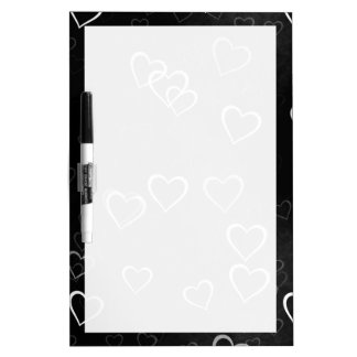 White Hearts on Black Background Dry-Erase Board