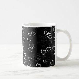 White Hearts on Black Background Coffee Mugs