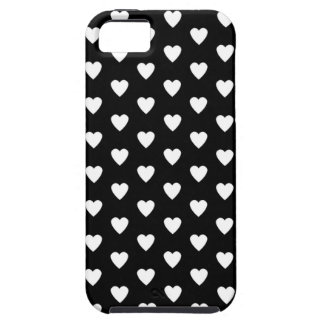 White Hearts on Black pattern background iPhone 5 Cover