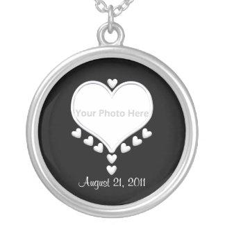 White Hearts on Black (photo frame) Wedding Round Pendant Necklace