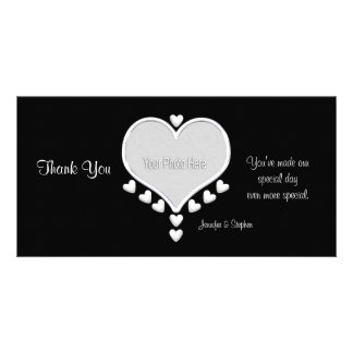 White Hearts on Black Wedding Thank You Personalized Photo Card