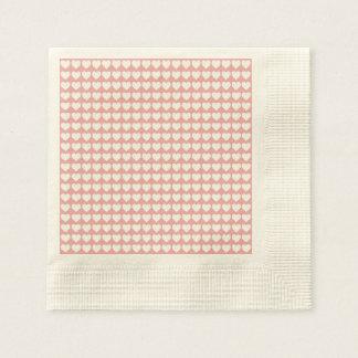 White Hearts on Blush Pink Paper Napkin