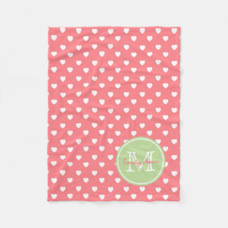 White Hearts on Coral Pink With Mint Monogram Fleece Blanket