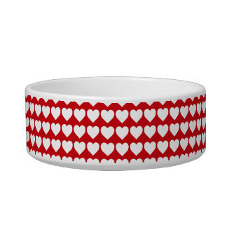 White Hearts on Lipstick Red Bowl