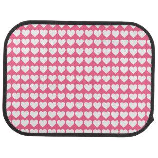 White Hearts on Midi Pink Car Mat