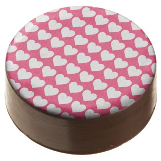 White Hearts on Midi Pink Chocolate Dipped Oreo