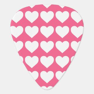 White Hearts on Midi Pink Guitar Pick
