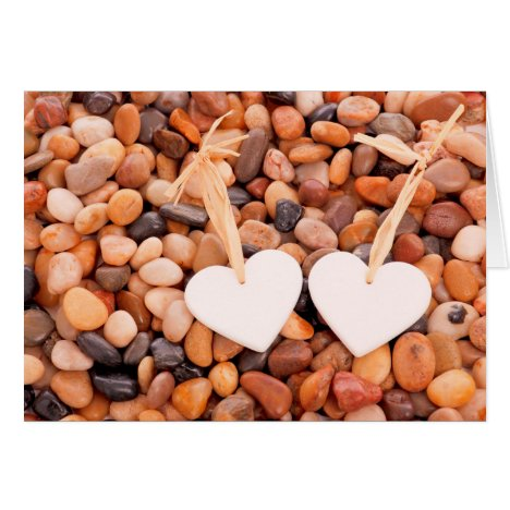 White Hearts on Pebbles Valentine's Day Love Card