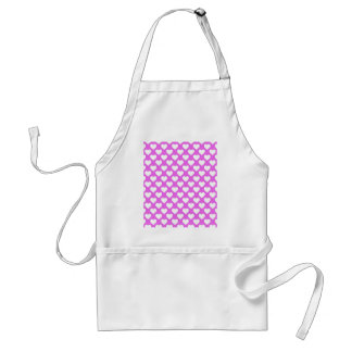 White Hearts on Pink Background Adult Apron