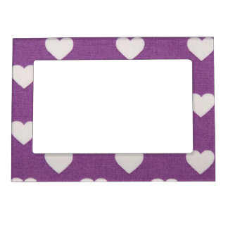 White Hearts on Purple Background Magnetic Frame