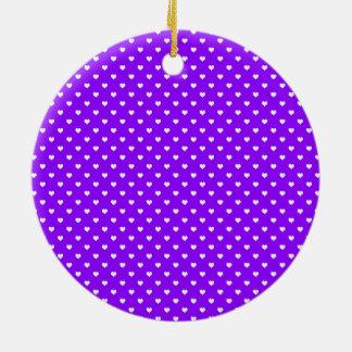 White Hearts on Purple Ornaments