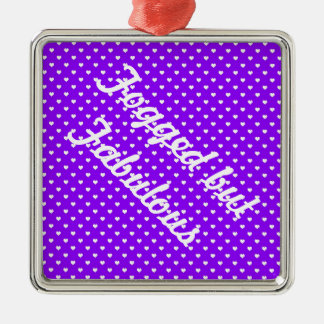 White Hearts on Purple Christmas Ornament