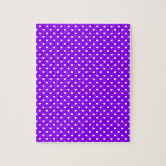 White Hearts on Purple Jigsaw Puzzles