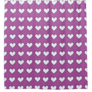 Purple White Shower Curtains