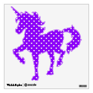 White Hearts on Purple Wall Decal