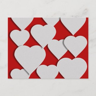 White Hearts on Red Valentine Holiday Postcard
