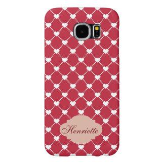 White Hearts on red Valentines Day custom Monogram Samsung Galaxy S6 Case