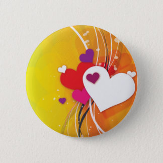 White Hearts Orange Whimsy Pinback Button