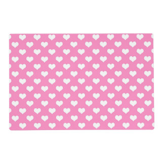 White Hearts Pink Background Polka Dot Heart Placemat