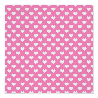 White Hearts Pink Background Polka Dot Heart Poster