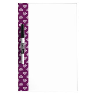 White Hearts Plum Pattern Dry-Erase Boards