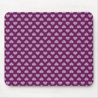 White Hearts Plum Pattern Mouse Pad