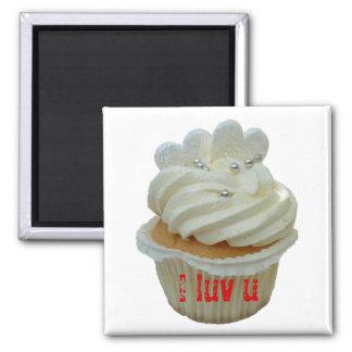 White hearts romantic cupcake magnet