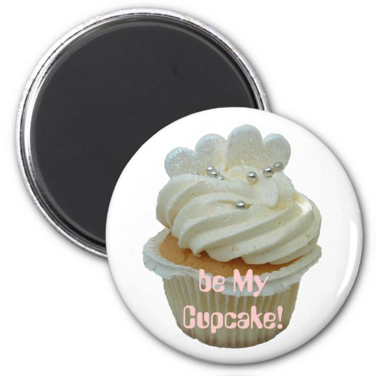 White hearts romantic cupcake magnet