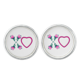 White Hearts & Roses X's & O's Cuff Links Cufflinks