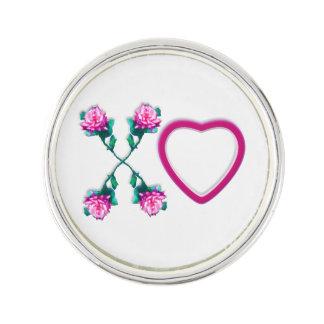 White Hearts & Roses X's & O's Lapel Pin