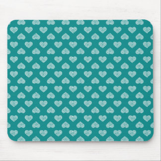 White Hearts Teal Pattern Mouse Pad