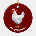 White Hen in Santa Hat Merry Chickmas Ceramic Ornament