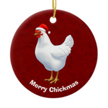 White Hen in Santa Hat Merry Chickmas Ceramic Ornament