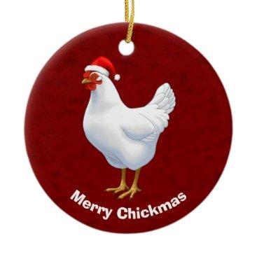 Fun_Forest White Hen in Santa Hat Merry Chickmas Ceramic Ornament