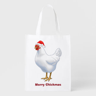 White Hen in Santa Hat Merry Chickmas Reusable Grocery Bag