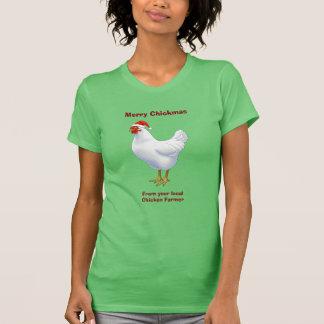 White Hen in Santa Hat Merry Chickmas T-Shirt